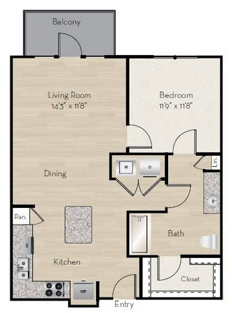 837 sq. ft. A4-HC floor plan