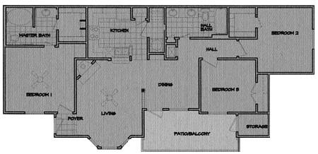 1,182 sq. ft. Riveon floor plan