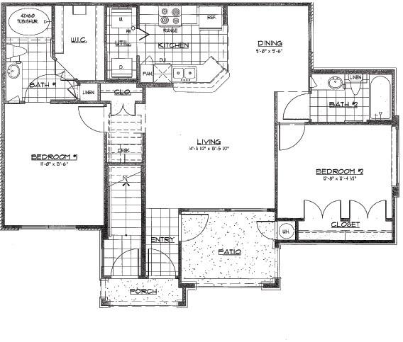 1,007 sq. ft. SEBASTIAN/60% floor plan