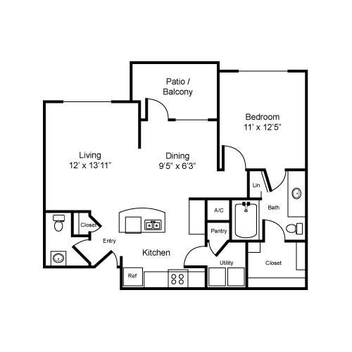 825 sq. ft. A2-I floor plan