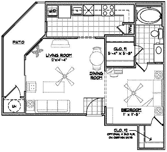 682 sq. ft. E2 floor plan