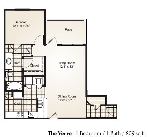 809 sq. ft. VERVE floor plan