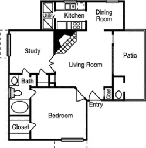 834 sq. ft. Rolling Wood floor plan