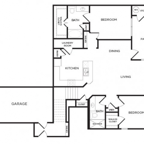 1,285 sq. ft. B8 floor plan
