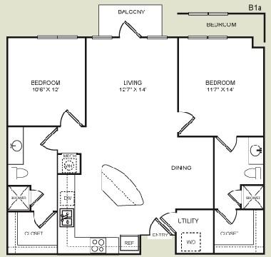 1,082 sq. ft. B1 floor plan