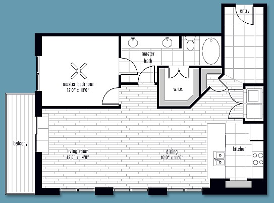 1,082 sq. ft. to 1,419 sq. ft. L floor plan