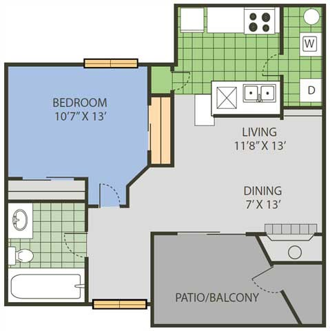 759 sq. ft. League floor plan