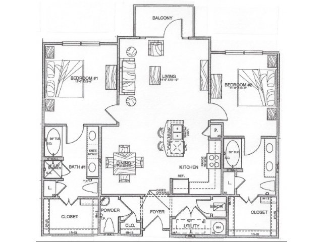 1,239 sq. ft. B3 floor plan