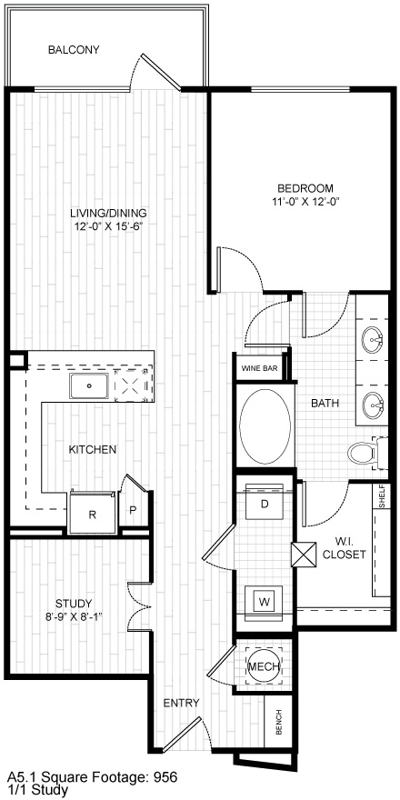 950 sq. ft. A5 floor plan