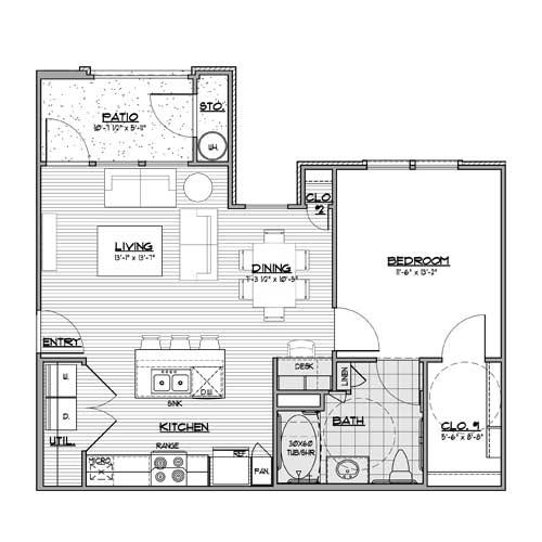 734 sq. ft. A2-HC floor plan