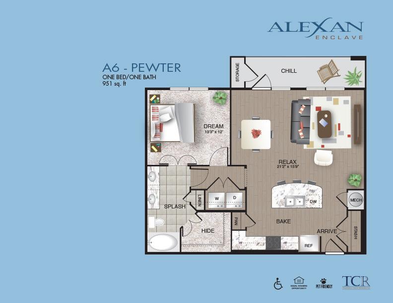 951 sq. ft. Pewter floor plan