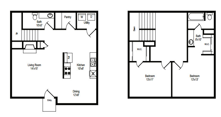 1,080 sq. ft. B/C floor plan