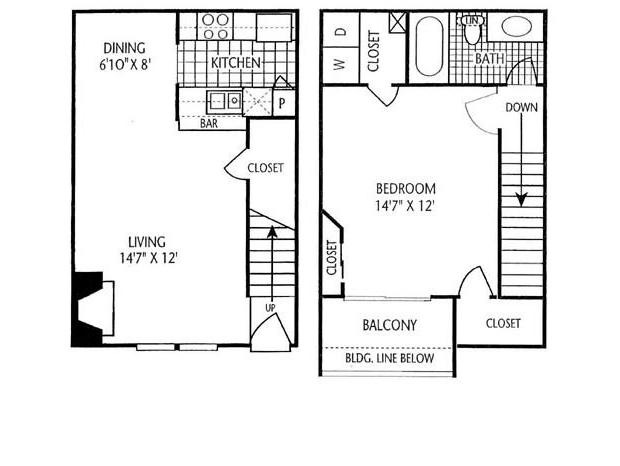 787 sq. ft. A-2T floor plan