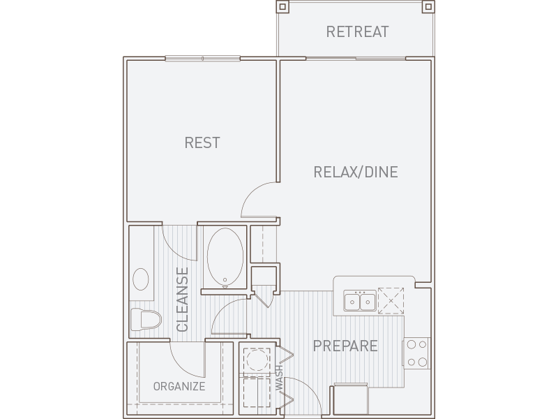 782 sq. ft. A2-T floor plan