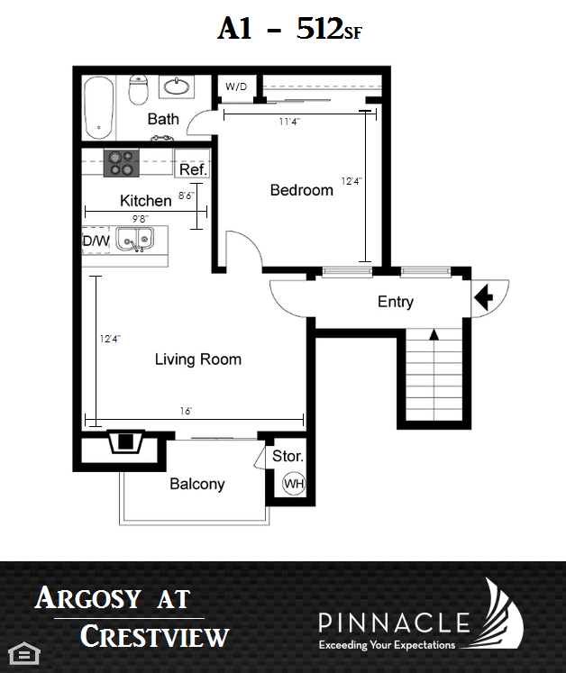 512 sq. ft. A1 floor plan