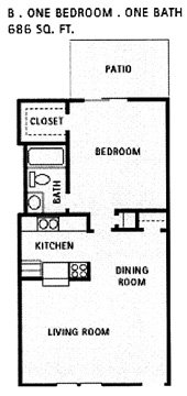 686 sq. ft. B floor plan