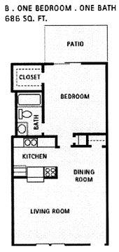 686 sq. ft. B floor plan