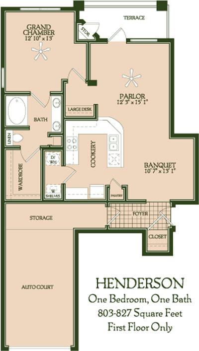803 sq. ft. to 827 sq. ft. Henderson floor plan