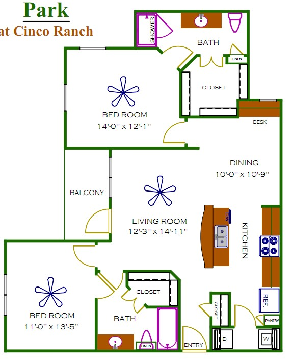 1,102 sq. ft. Jefferson floor plan