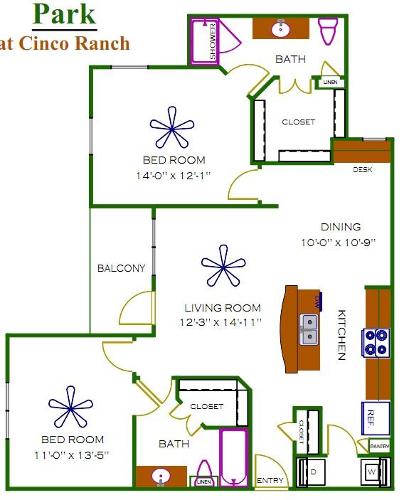 1,102 sq. ft. Jefferson floor plan