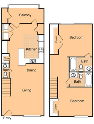 1,035 sq. ft. B1/60% floor plan