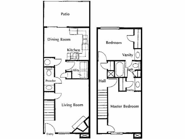 1,050 sq. ft. A2 floor plan