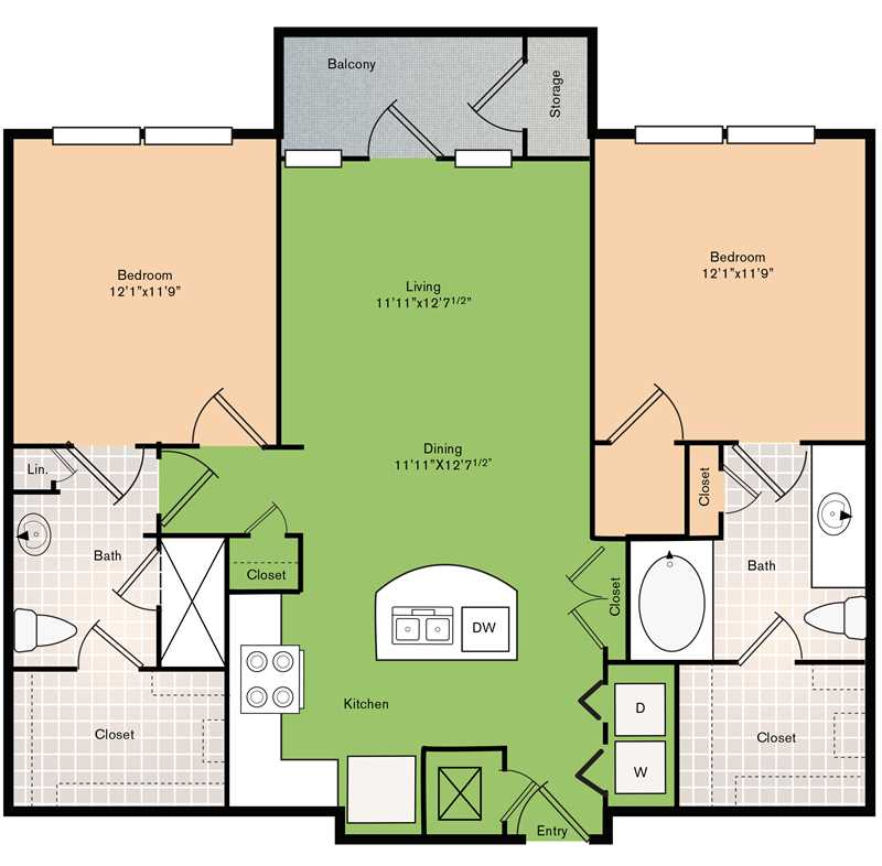 1,120 sq. ft. B2 floor plan