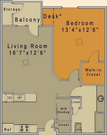 727 sq. ft. to 736 sq. ft. Dupree/50% floor plan