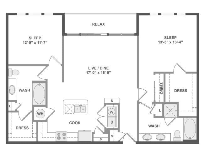1,270 sq. ft. C6A floor plan