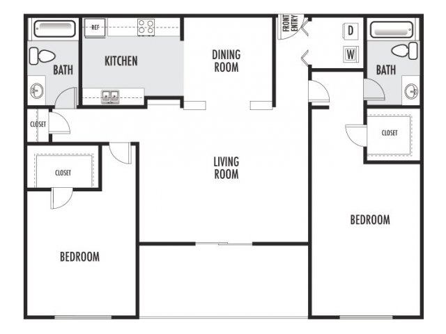 1,134 sq. ft. H floor plan