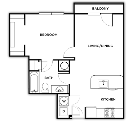 654 sq. ft. Genova floor plan