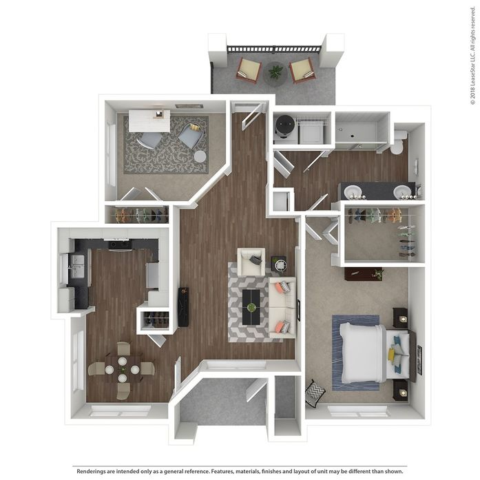 975 sq. ft. Villa Adventura floor plan