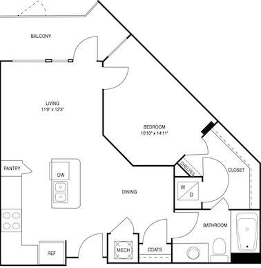 701 sq. ft. floor plan