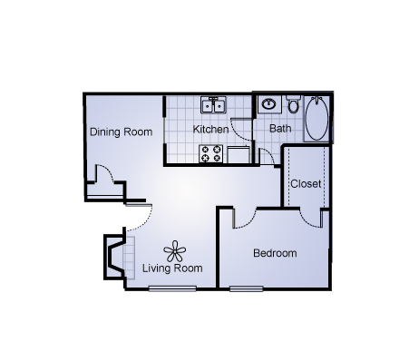 719 sq. ft. floor plan