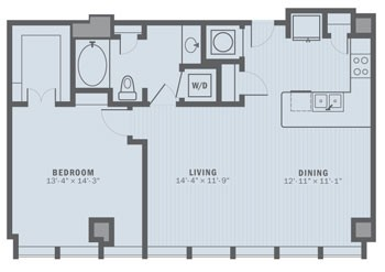 919 sq. ft. A3 floor plan