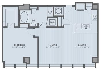 919 sq. ft. A3 floor plan