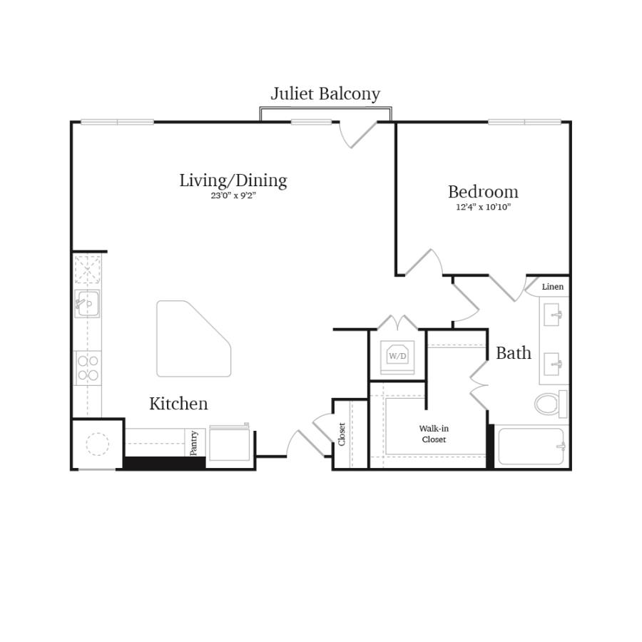 879 sq. ft. A12 floor plan