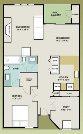 1,009 sq. ft. 1-DEN floor plan