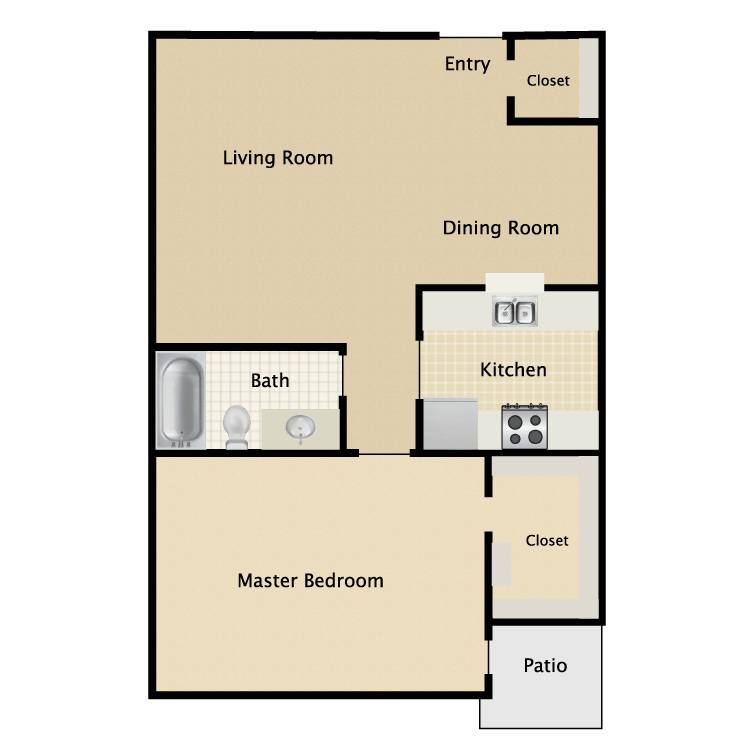 760 sq. ft. A4 floor plan