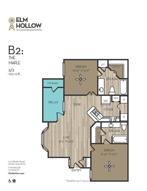 1,057 sq. ft. Maple floor plan