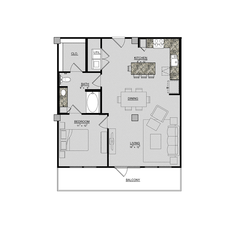 895 sq. ft. Jasmine floor plan