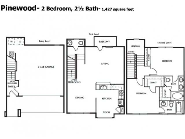 1,427 sq. ft. BTH floor plan