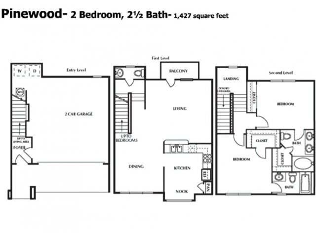 1,427 sq. ft. BTH floor plan