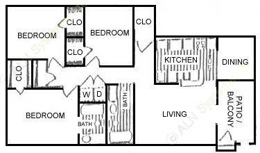 1,058 sq. ft. F floor plan
