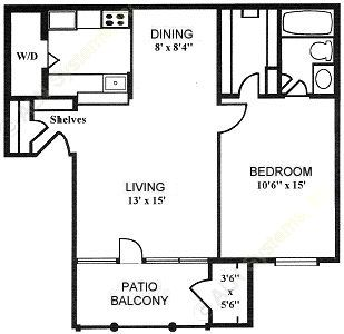 705 sq. ft. 1-A floor plan
