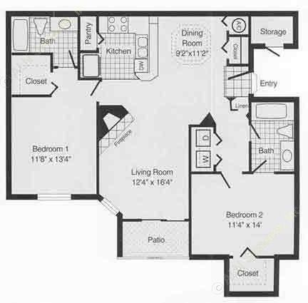 1,042 sq. ft. to 1,116 sq. ft. D floor plan