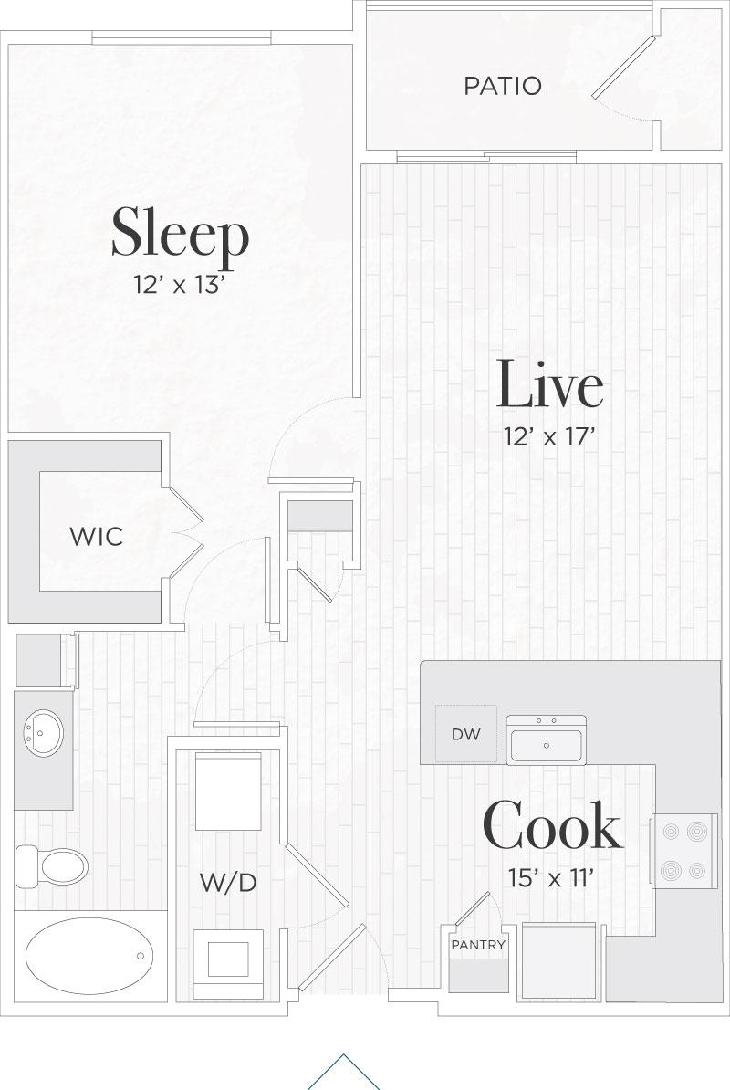 755 sq. ft. Lorenzo I floor plan