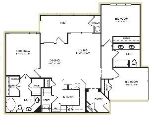 1,327 sq. ft. Gardenia floor plan
