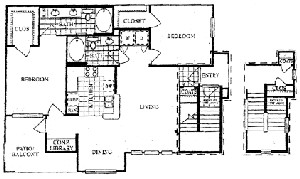 1,357 sq. ft. H floor plan