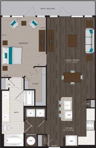863 sq. ft. A9 floor plan